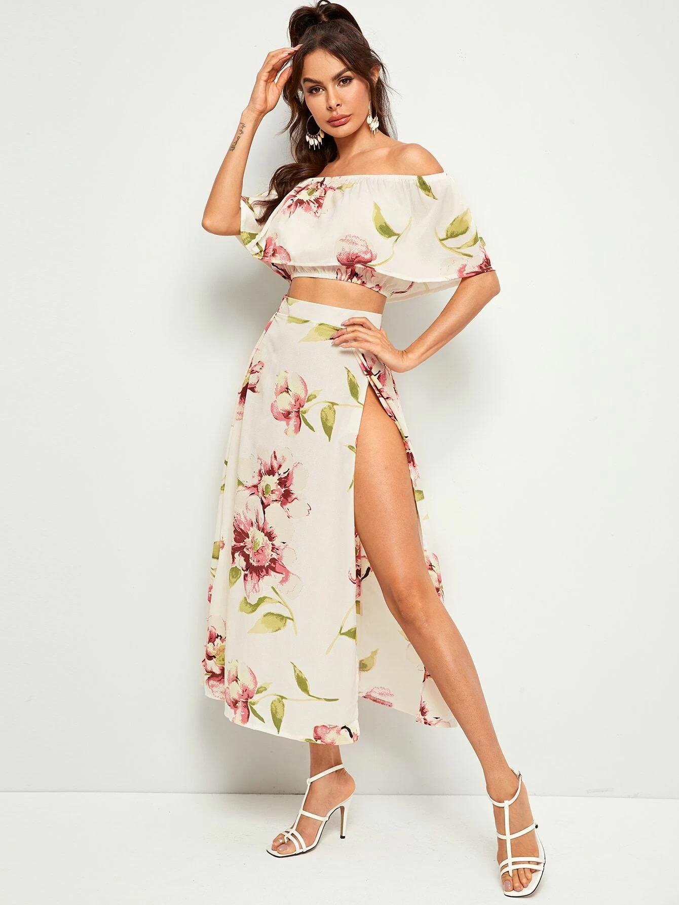 Floral Print Off-the-Shoulder Top & Slit Maxi Skirt