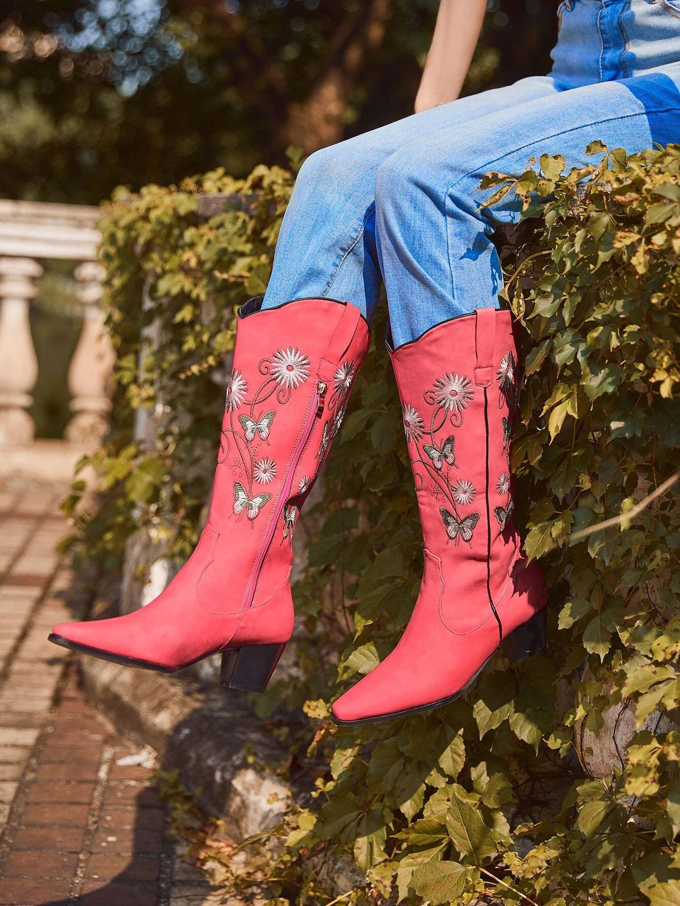 Flower & Butterfly Embroidered Boots