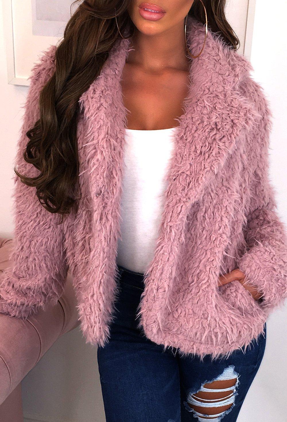 Fluffy Love Pink Teddy Faux Fur Jacket