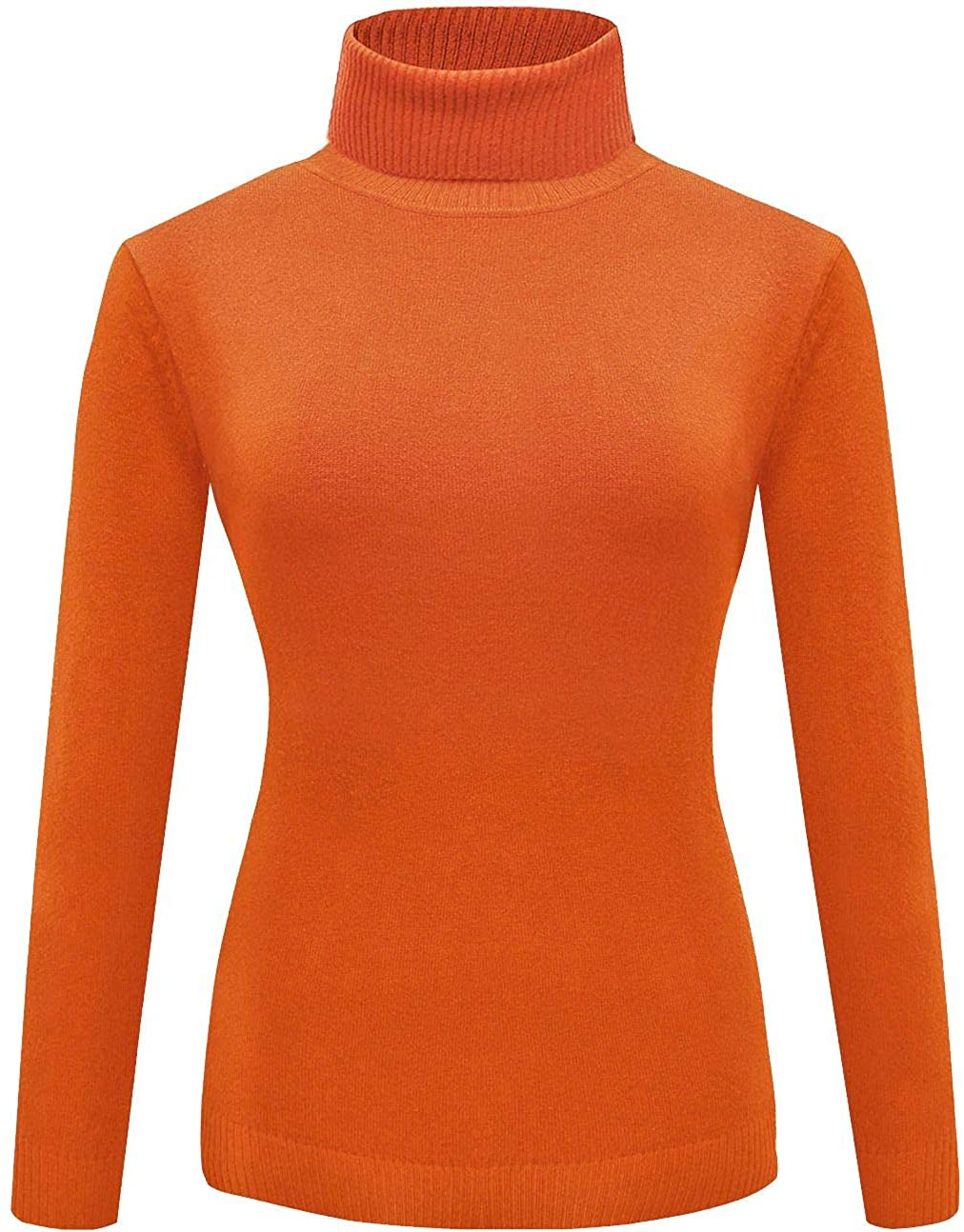 For G and PL Women's Halloween Velma Costume Orange Solid Turtleneck Knitted Sweatshirt