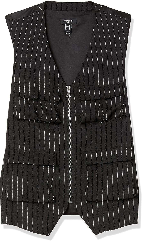 Forever Twenty One Men's Pinstriped Utility Vest