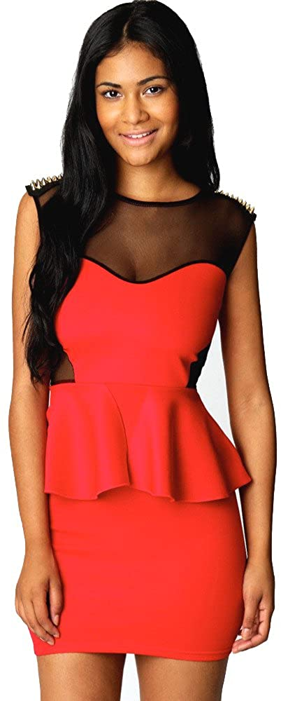 Forever Young Ladies Red Studded Mesh Peplum Dress Party Evening Wear Mini Dress