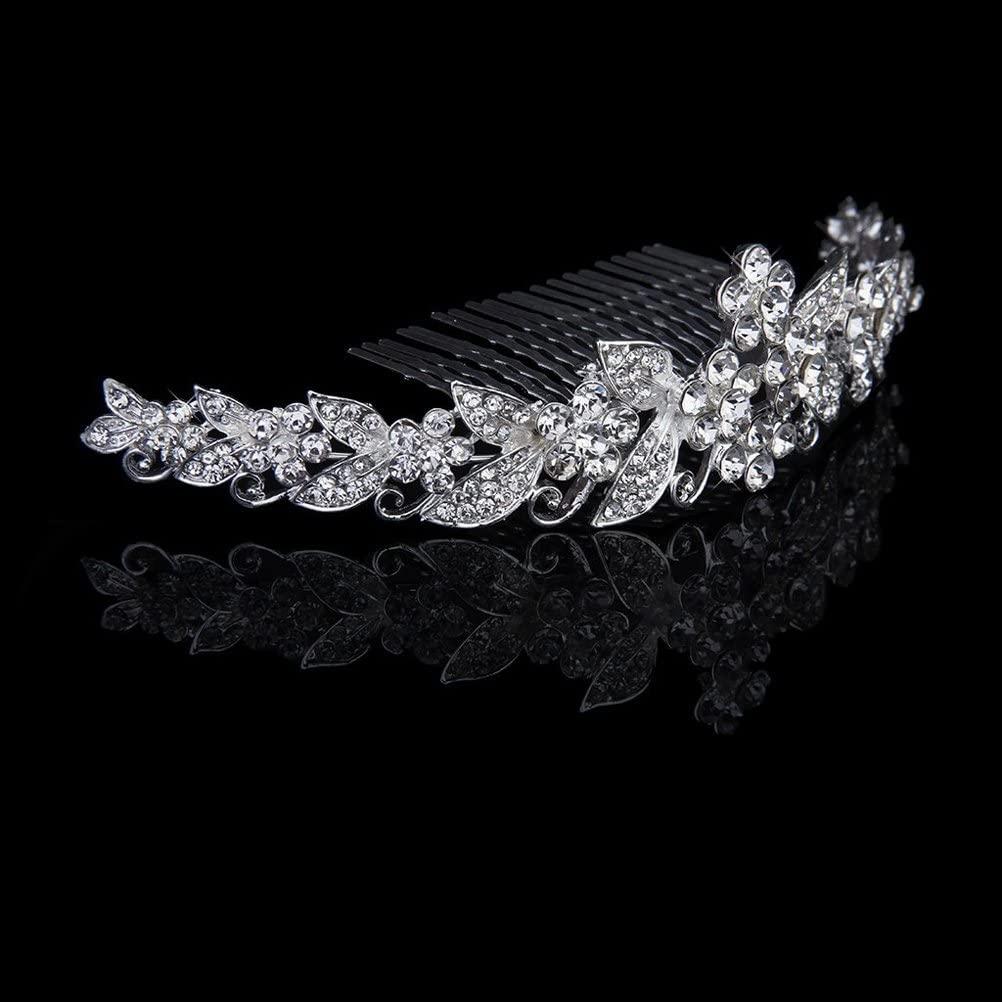 Foxnovo Beautiful Wedding Bridal Shining Crystal Rhinestones Crown Tiara Headband Hair Band with Comb