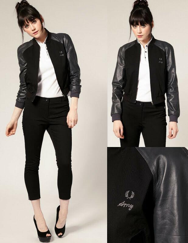 Fred Perry Amy Winehouse Black Grey Leather Sleeve Bomber Jacket
