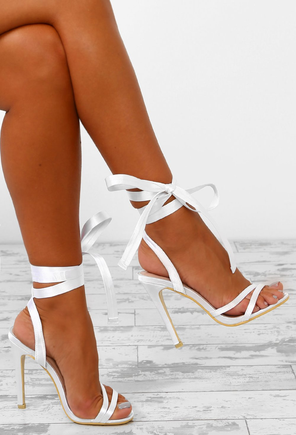 French Kiss White Satin Ankle Wrap Heels