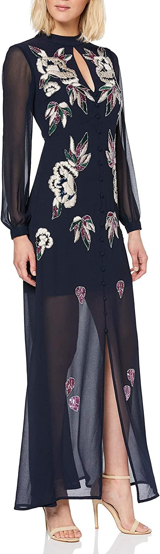 Frock and Frill Women's Godiva Mandarin Collar Embellied Maxi Dress Party