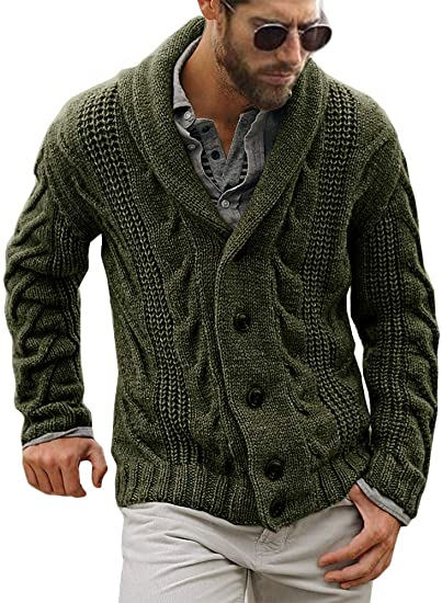 Fueri Mens Cable Knit Cardigan Chunky Knitted Jacket V Neck Shawl Collar Buttoned Knitwear Overcoat Outerwear