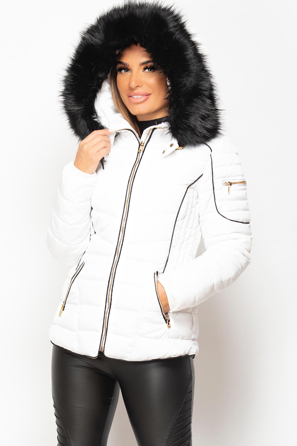 Fur Hooded Quilted Puffer Coat White style