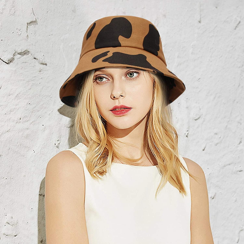 GEMVIE Women Bucket Sun Hat Classic Cow Pattern Sun Beach Hat Packable Travel Outdoor Bucket Fisherman Sun Hat