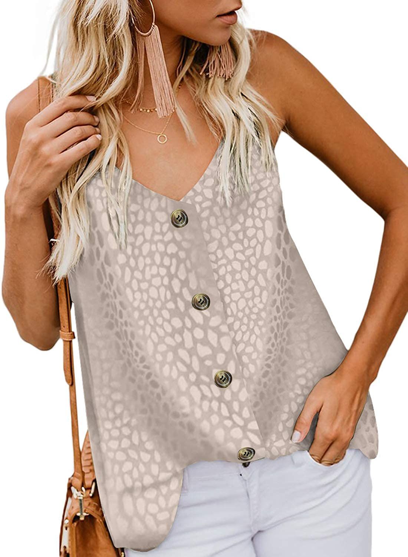 GOSOPIN Womens Summer Sleeveless V-Neck Blouse Casual Adjustable Spaghetti Straps Cami Vest Tank Tops S-XXL