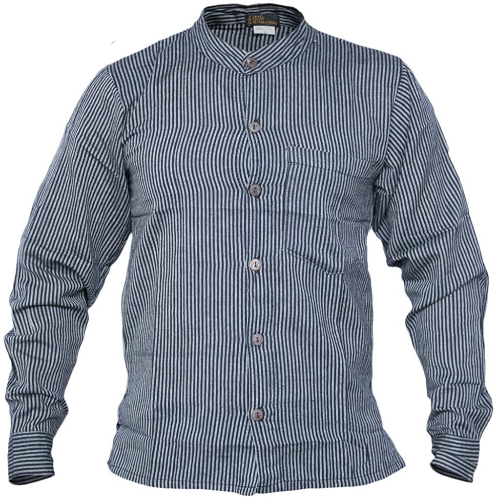Gheri Men's Button Down Striped Grandad Nepalese Shirts Black