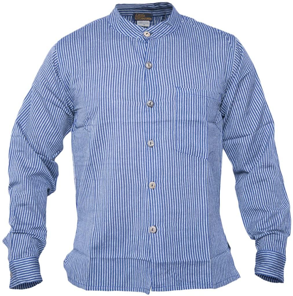 Gheri Men's Button Down Striped Grandad Nepalese Shirts Blue