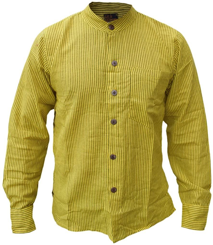 Gheri Men's Button Down Striped Grandad Nepalese Shirts Yellow