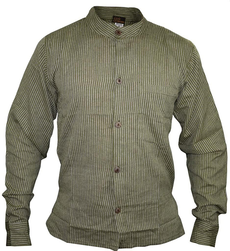 Gheri Men's Button Down Striped Grandad Nepalese Shirts