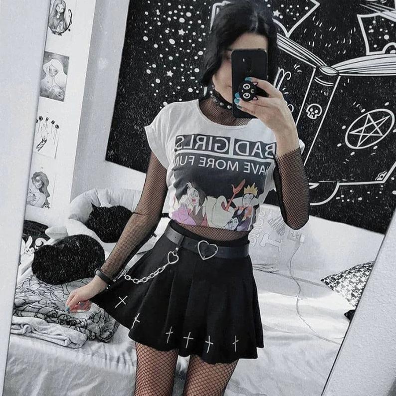 Gothic Skirt Goth High Waist Mini Black Skirts Gothic Streetwear Cross Print Pleated Women Skirts Casual College Lolita Harajuku Skirt