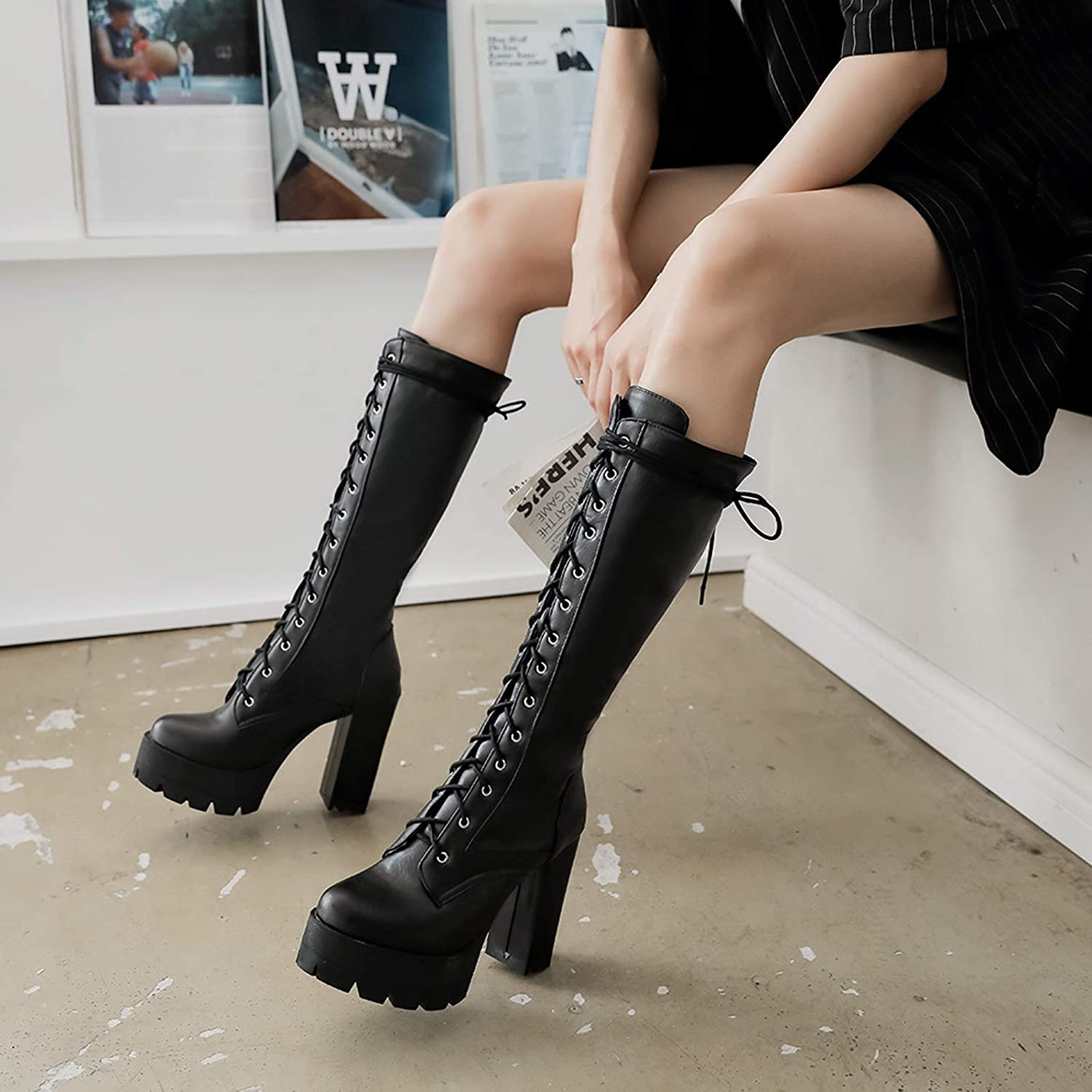 Gothic Women Block High Heel Knee High Boots Platform Lace Up Knight Boots Shoes