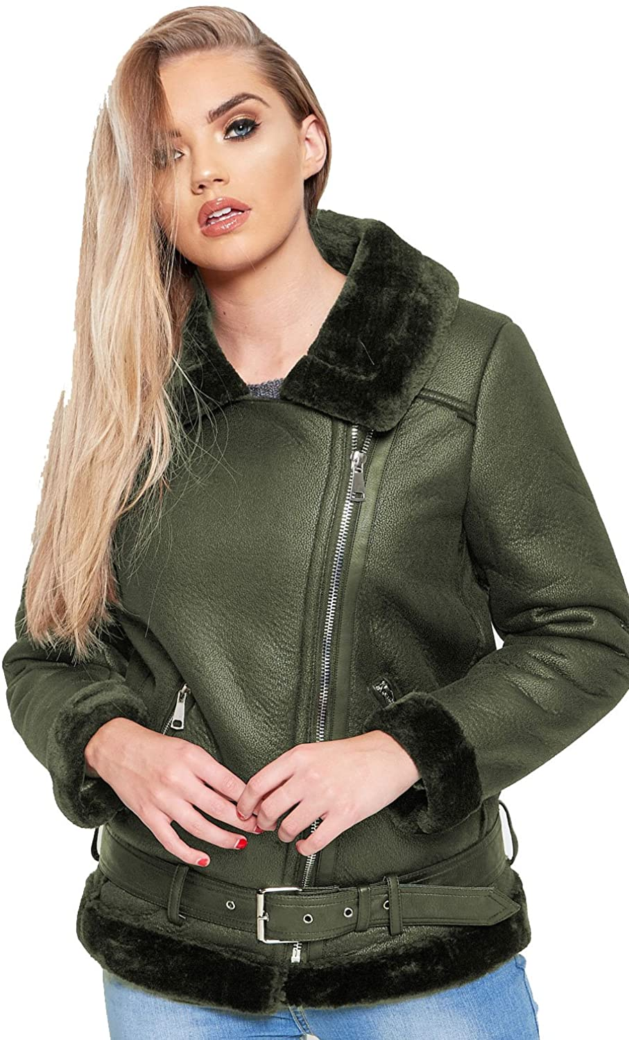 Gracious Girl GG Womens Faux Leather Aviator Faux Furs Lined Shearling Ladies Jacket