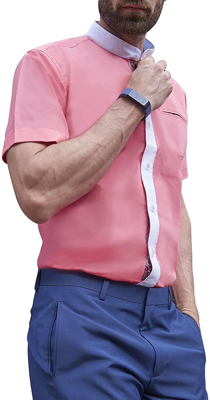 Grandad Mens Shirts, Unchained Warrior Grandad Collarless Smart Casual Short Sleeve Nehru Summer Slim Fit Mens 100% Cotton Shirt