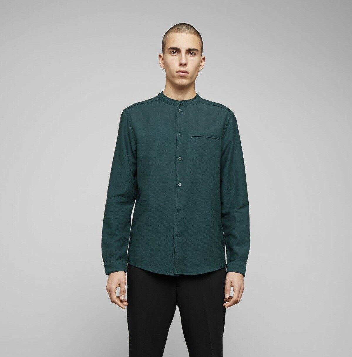 Green Mandarin Collar Shirt For Mens