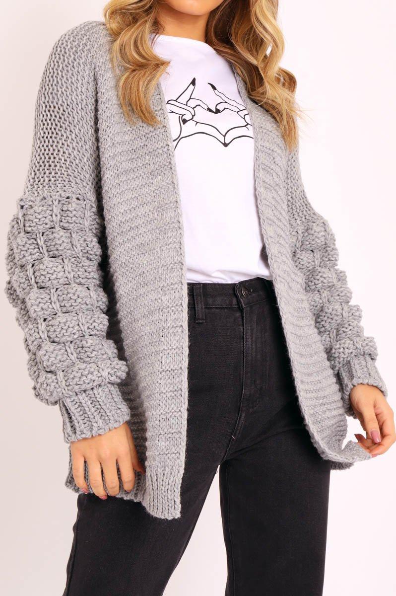 Grey Chunky Knit Oversized Cardigan - Eaden