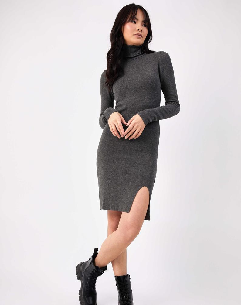 Grey Roll Neck Knitted Midi Dress