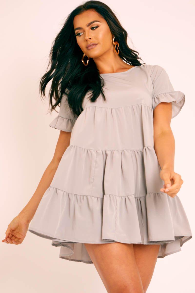 Grey Smock Tiered Frill Sleeve Mini Dress - Olah