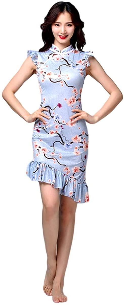 Grouptap Chinese mandarin asian silk women girls floral lace fancy qipao cheongsam dance dress