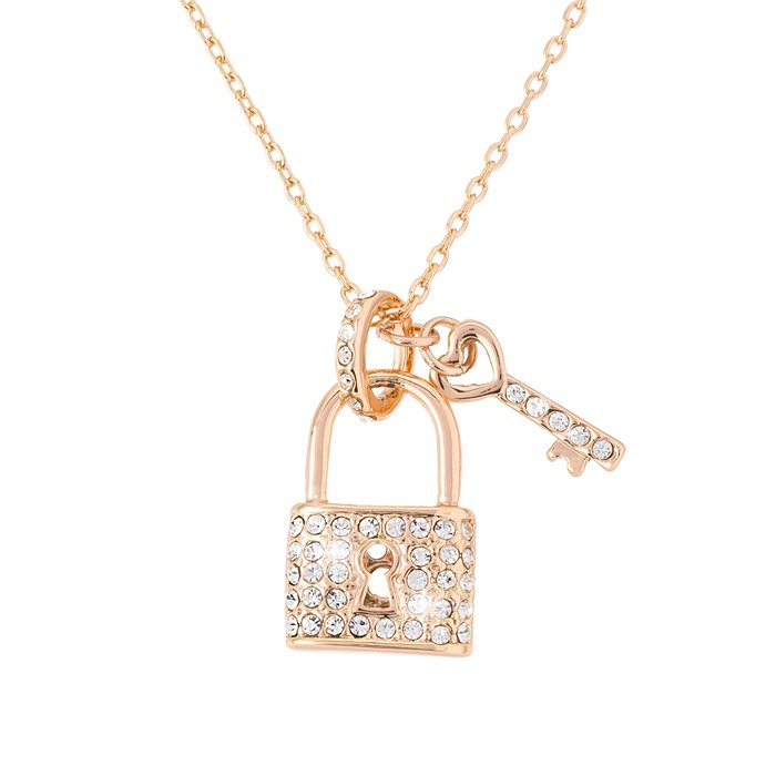 Gold Plated Lock & Key Pendant Crystal Necklace