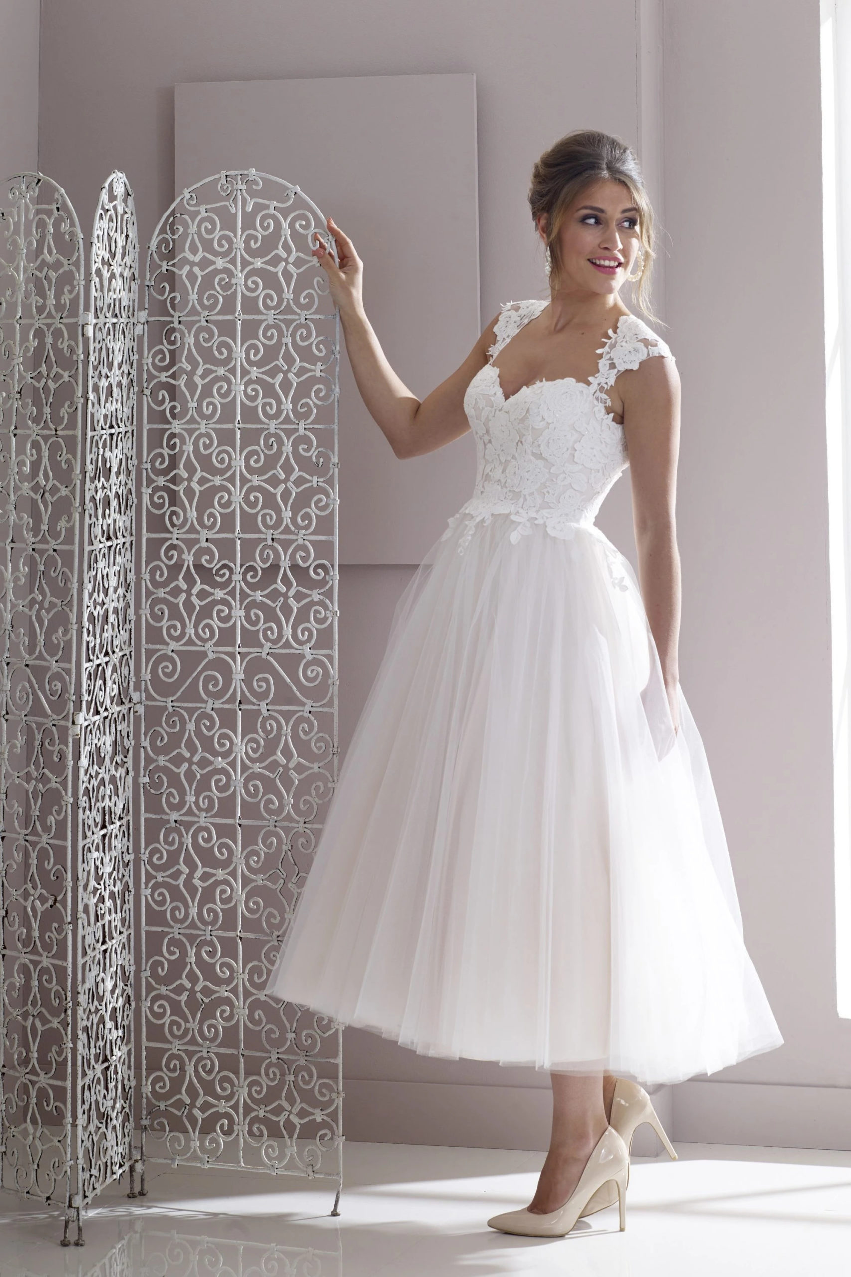 HN-SALLY-R LACE AND TULLE TEA LENGTH WEDDING GOWN