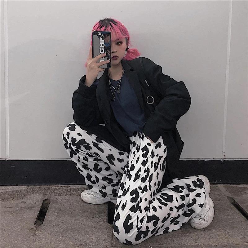HOUZHOU Cow Print Pants Women Korean Style Cow Print Wide Leg Pants