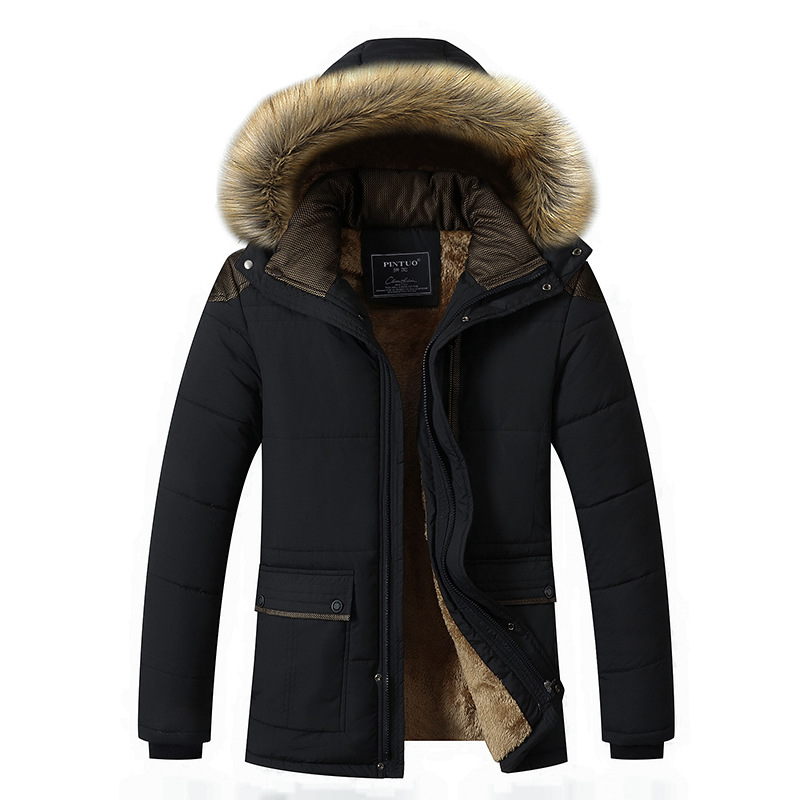 M-5XL Fur Collar Hooded Men Winter Jacket 2020 New Fashion Warm Wool Liner Man Jacket and Coat Windproof Male Parkas casaco