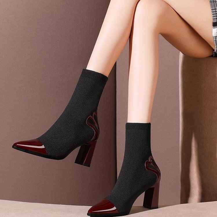 Heel Appliques Black Brown Ankle High Heel Party Boots