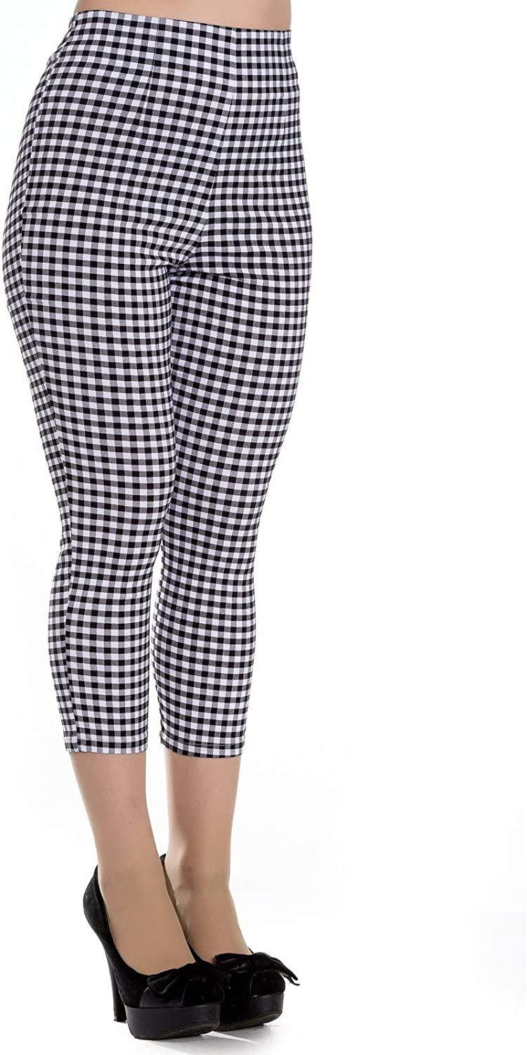 Hell Bunny 50s Judy Gingham Capris Cropped Trousers - UK 16 (XL) / Black