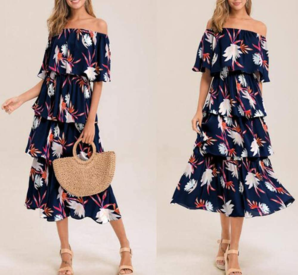 Hibasing Plus Size Womens Printed Bandeau Dresses Ladies Long Maxi Casual Cake Dress