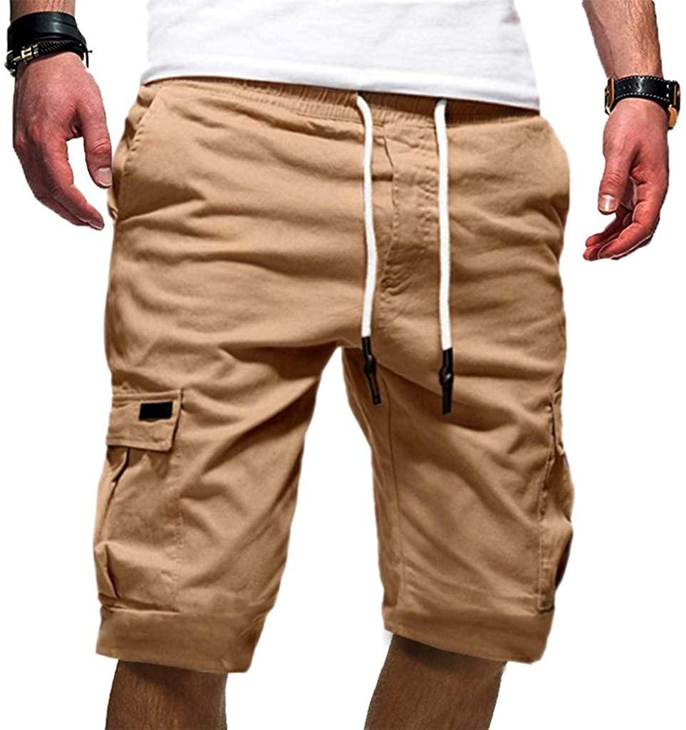 Homstar Men's Sport Pure Color Bandage Casual Drawstring Shorts,Loose Sweatpants Pant Summer Bottoms Cotton Below Knee Length Pants Casual Sports Joggers Shorts Summer Gym Pants Khaki