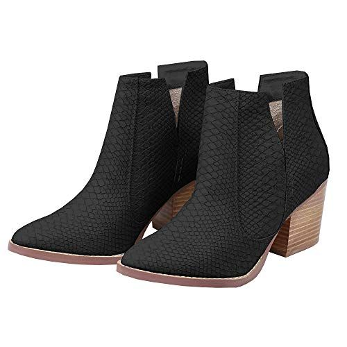 Huiyuzhi Womens Cutout Ankle Boots Pointy Toe Perforated Stacked Heeled Casual Chelsea Booties