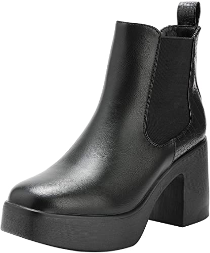 ISAACTOLY Womens Ankle Boots with High Chunky Heel and Thick Platform Chelsea Boots Black