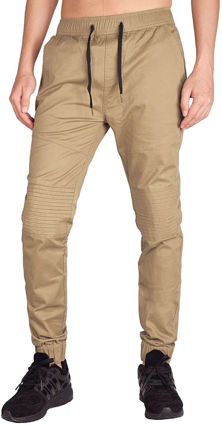 ITALY MORN Men's Jogger Biker Trousers Chino with Elasticated Waist