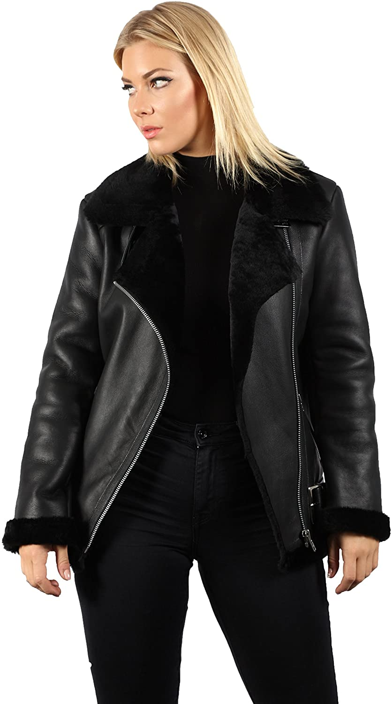 Infinity Women's Black Real Shearling Sheepskin Aviator Pilot Leather Jacket