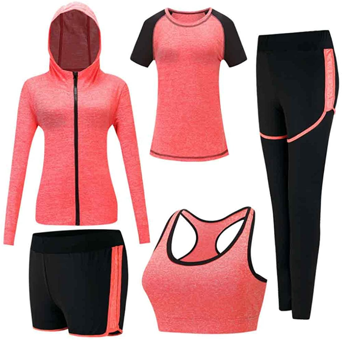 Inlefen Women's Tracksuits Sets Sportsuit Set Soft Comfy Quick-Drying Running Jogging Gym Workout Sweatsuit 5 Piece Set Sports Bra,T-Shirt,Coat and 2 pcs Pants Ladies Sportwear Sets Yoga Clothing