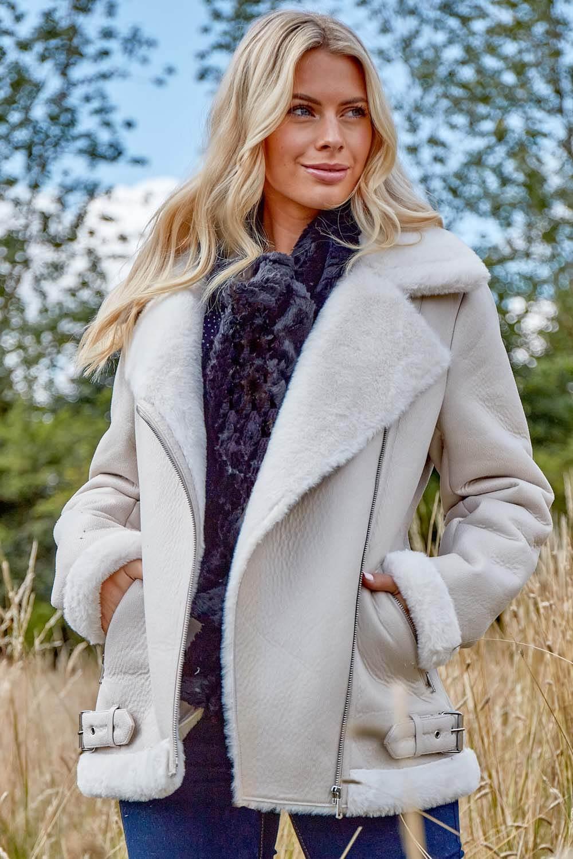 Ivory Faux Fur Lined Zip Detail Aviator Jacket
