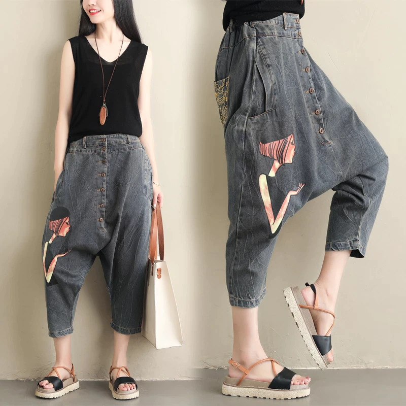 Jeans Woman Joggers Gypsy Hippie Women Printed Baggy Harem Pants Drop Crotch