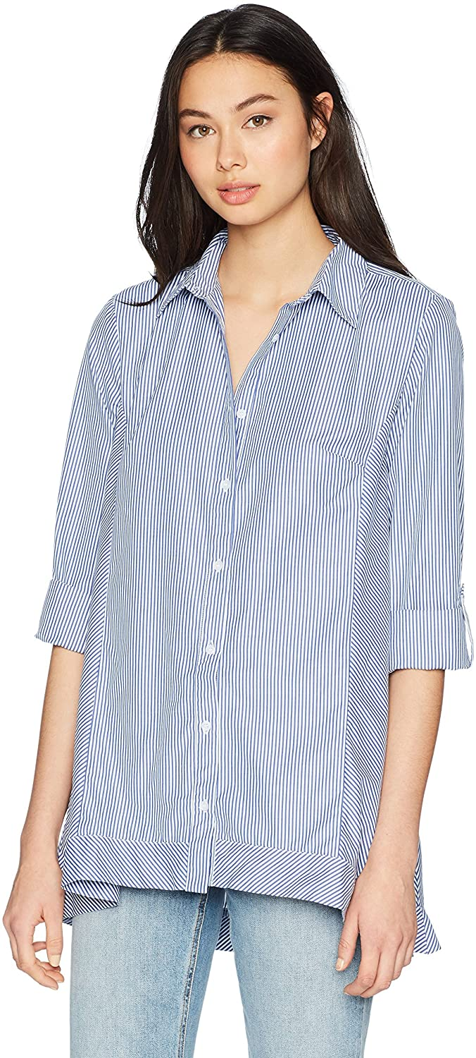 Jones New York Women's Roll Tab High Low Popover Button Down Shirt