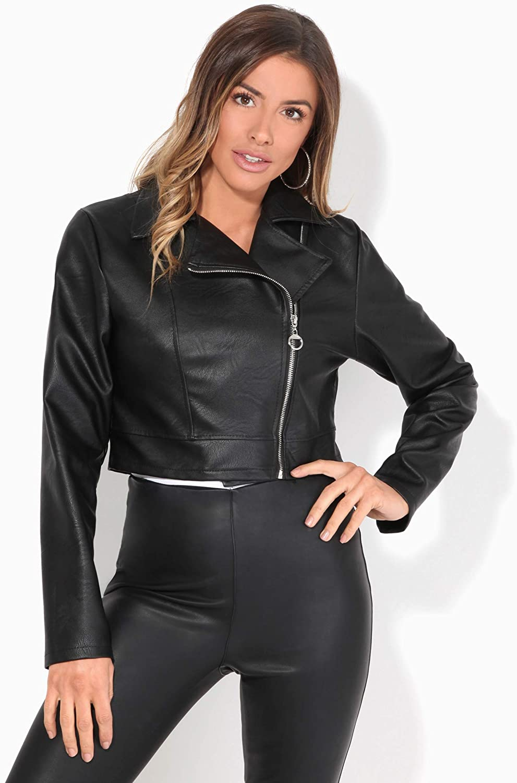 KRISP Cropped Faux Leather Biker Jacket (Black, S), 5027-BLK-S