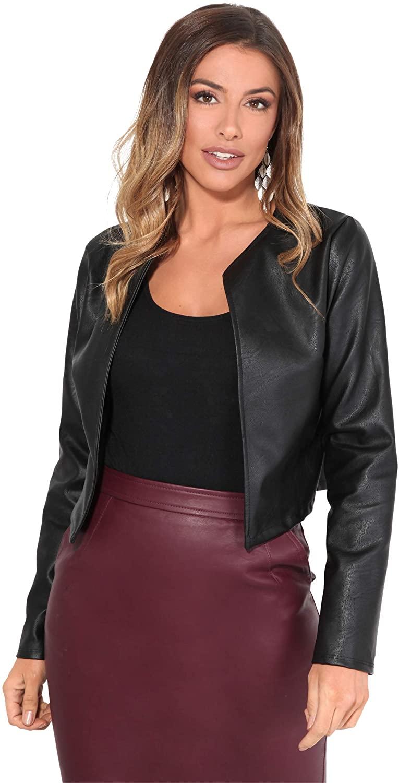 KRISP Women PU Leather Cropped Jacket Long Sleeve Bolero