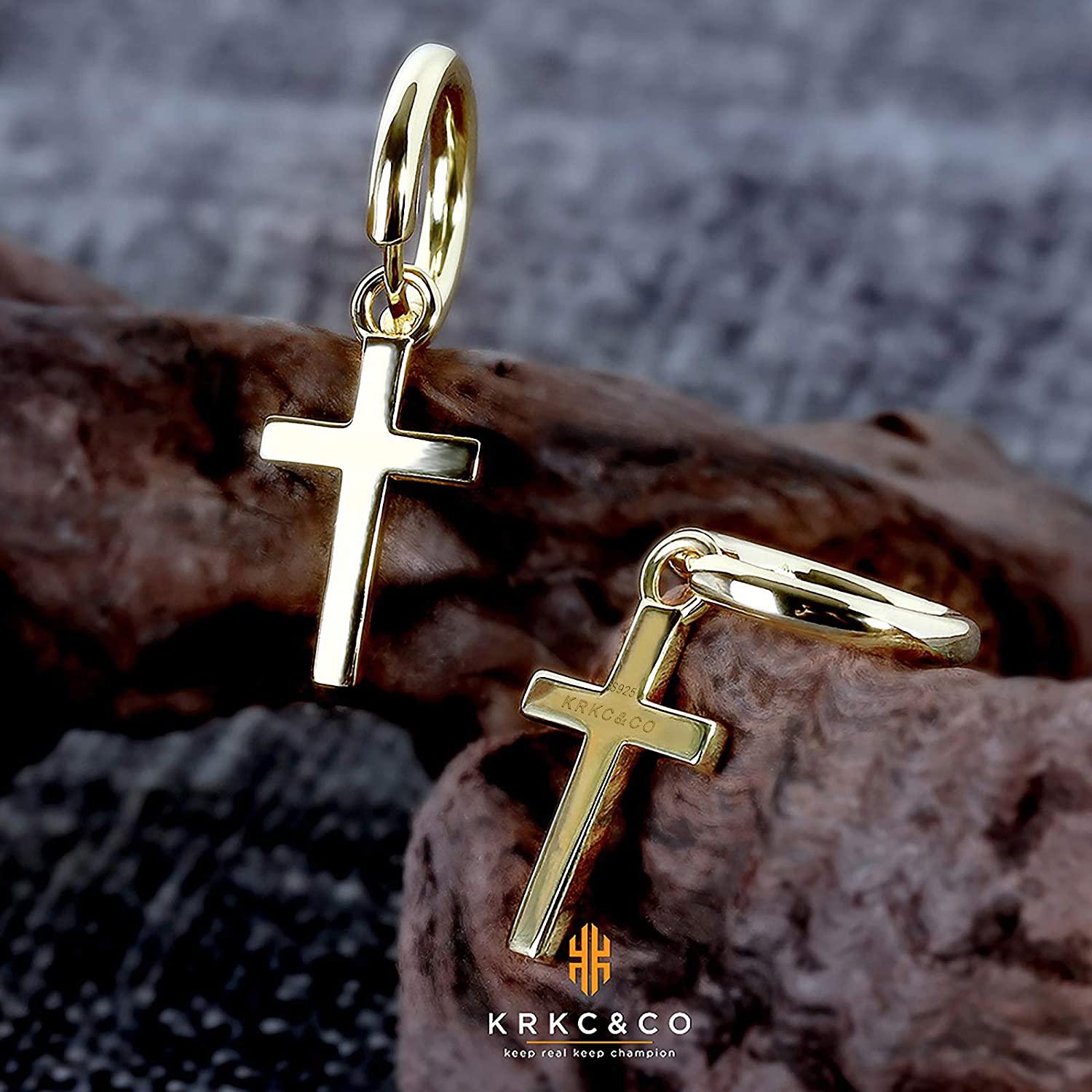 KRKC&CO Gold Hoop Earrings for Men, Sterling Silver Cross Earrings