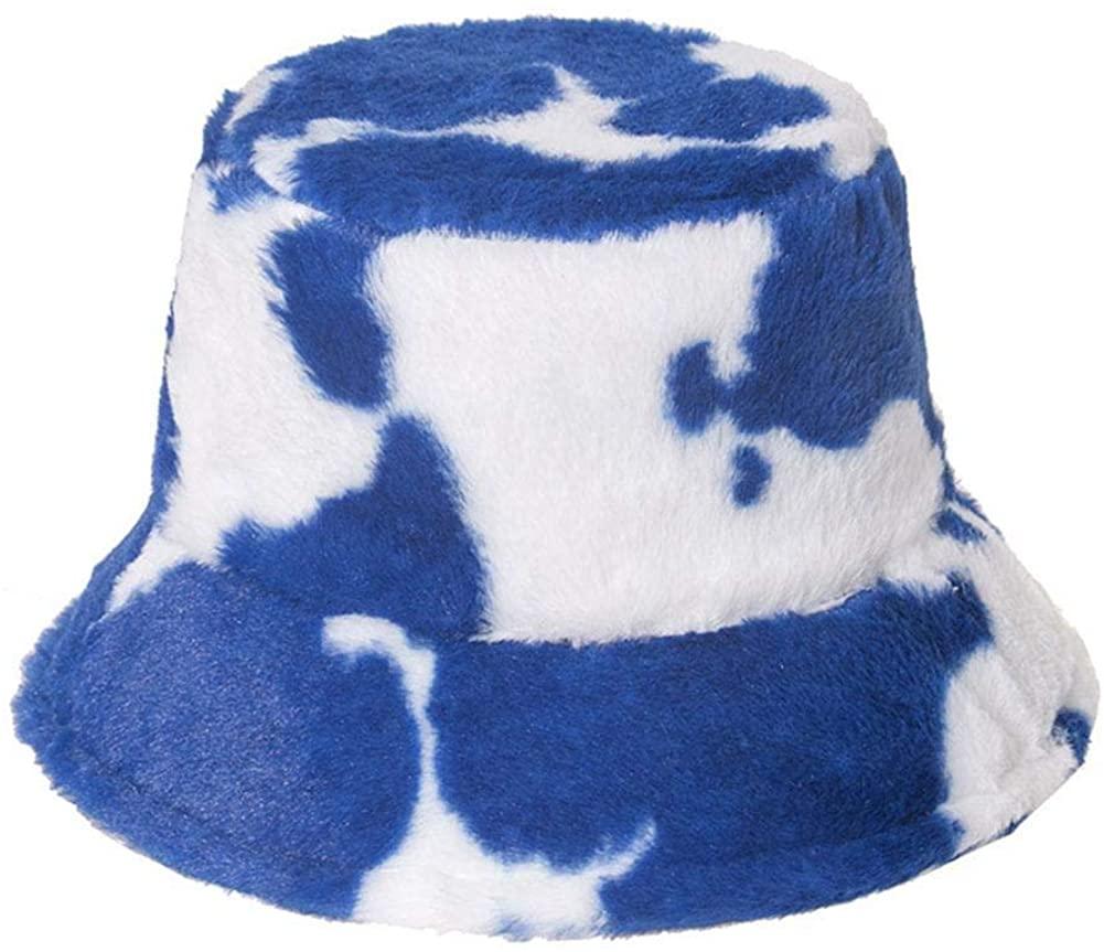 Kaikso-In Furry Bucket Hat for Women,Cow Milk Print Fisherman Hat, Winter Plush Cap