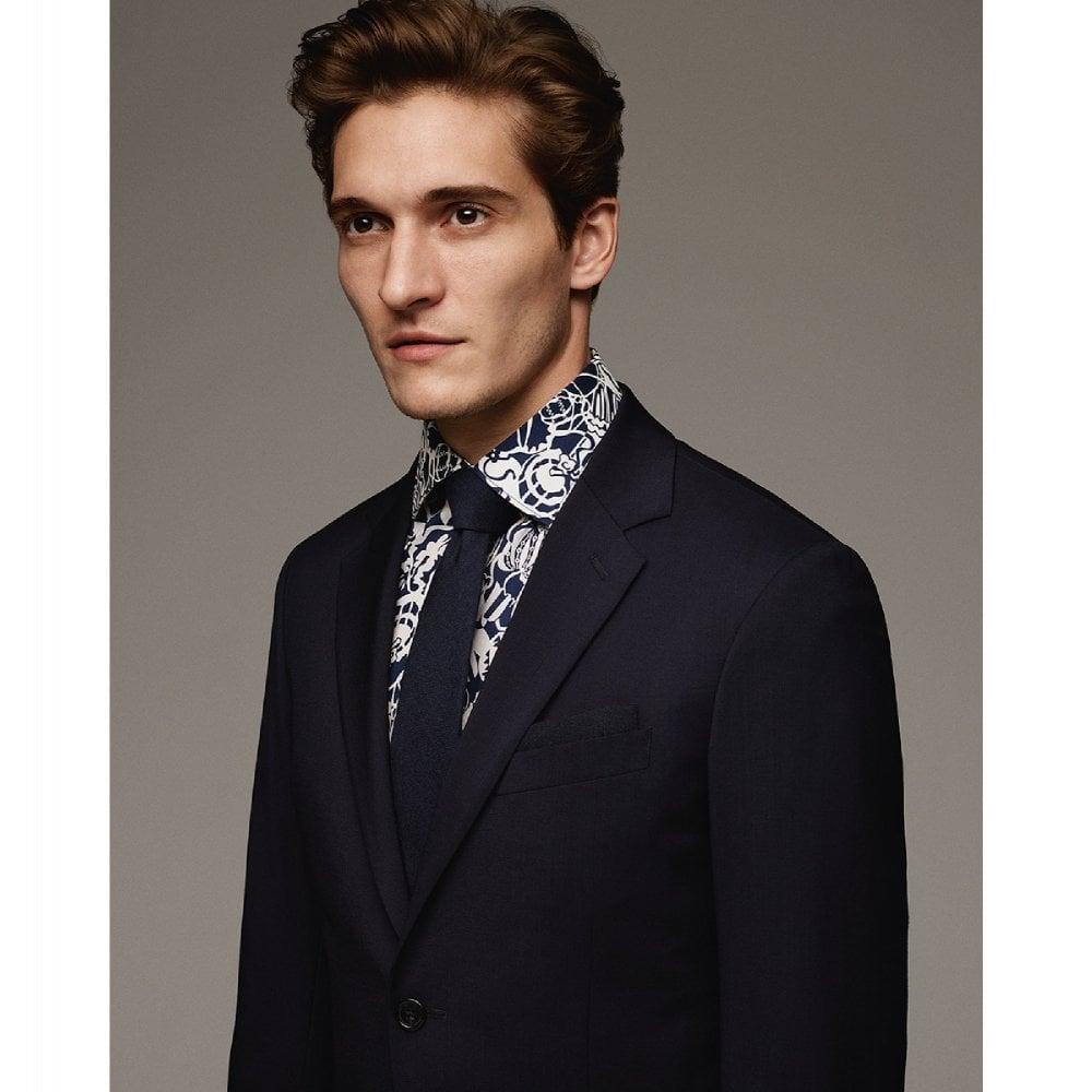 Kent Collar Liberty Fabric Floral Pattern Mens Business Shirt