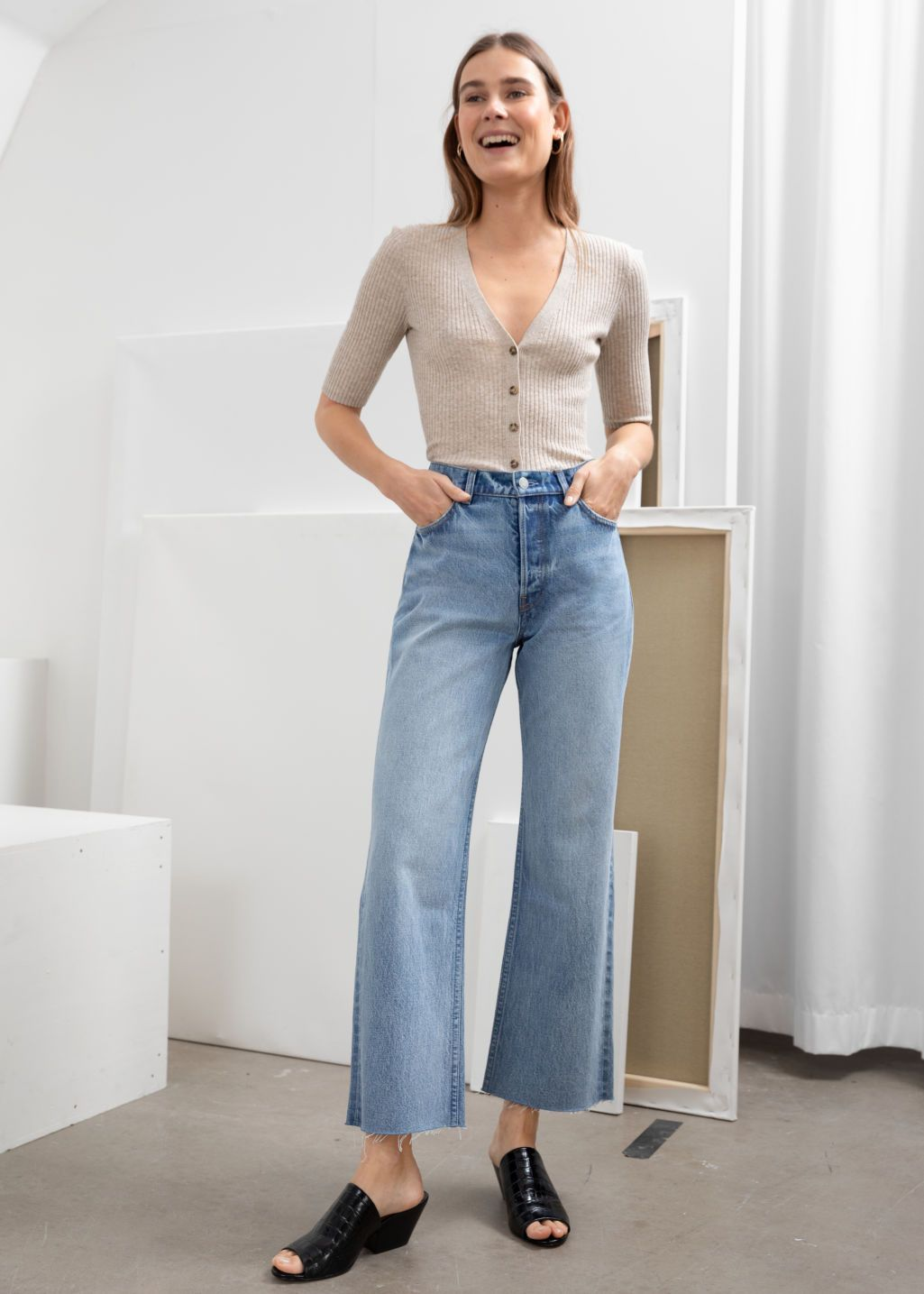 Kick flare jeans outfit