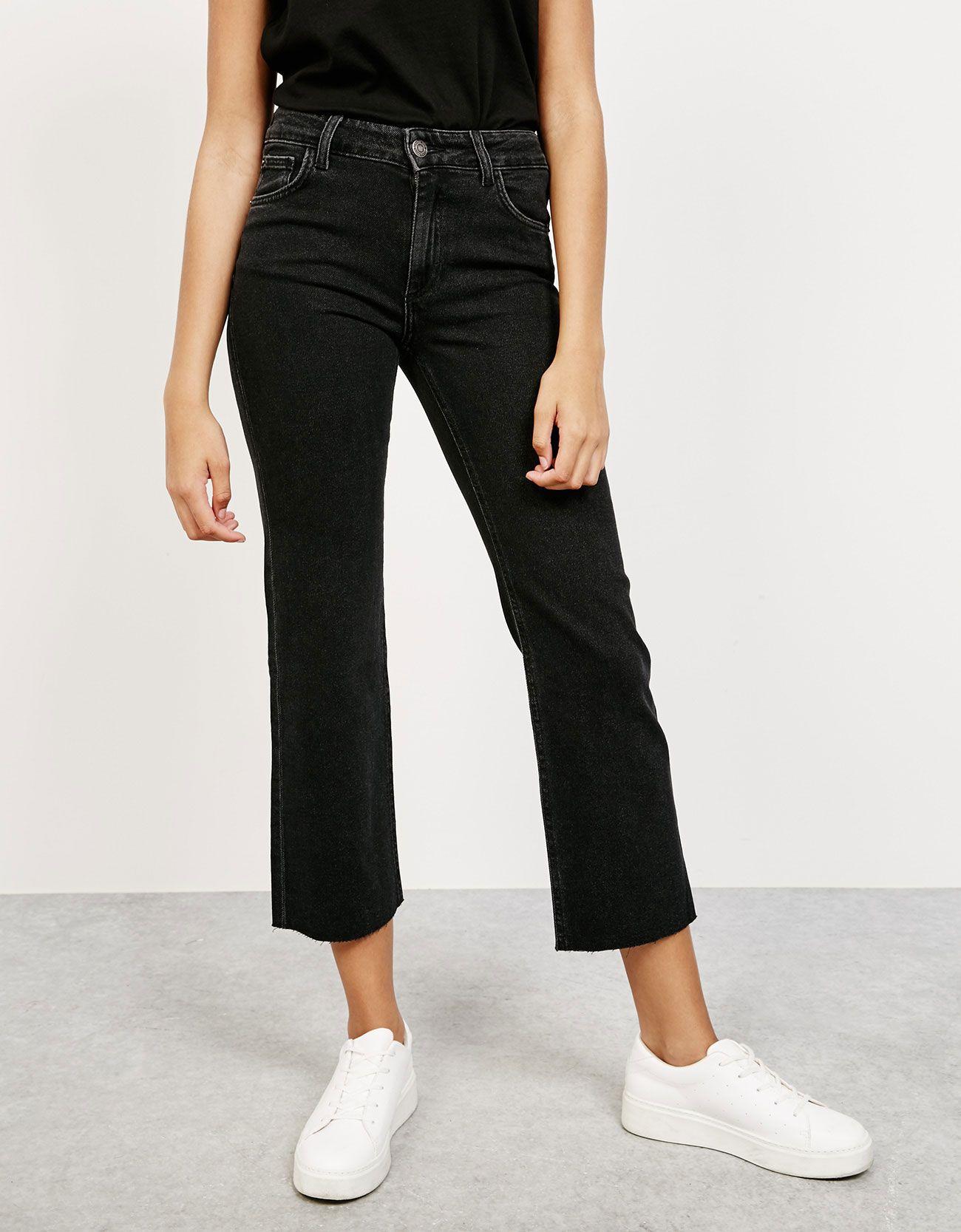 Kick flare jeans with seamless hem